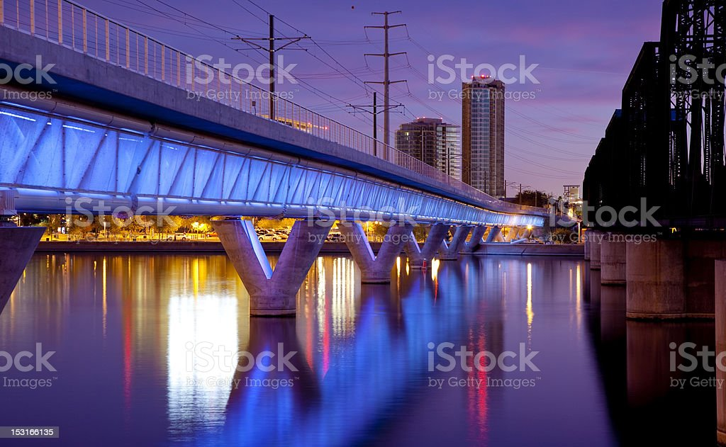 Tempe Arizona Light Rail Bridge and City royalty-free stock photo