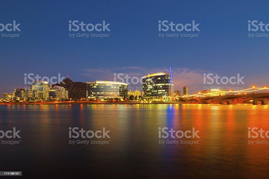 Tempe skyline at dusk stock photo