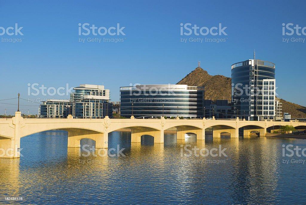 Tempe skyline, river, and bridge royalty-free stock photo