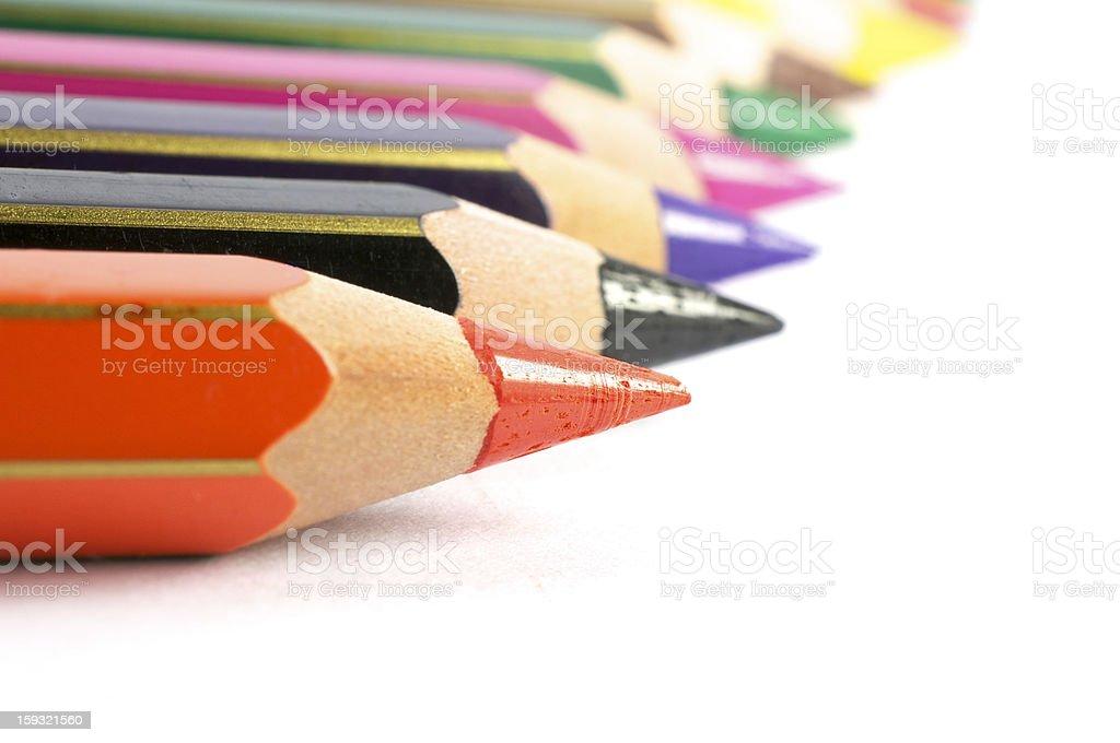 Tempera Pencil in row royalty-free stock photo