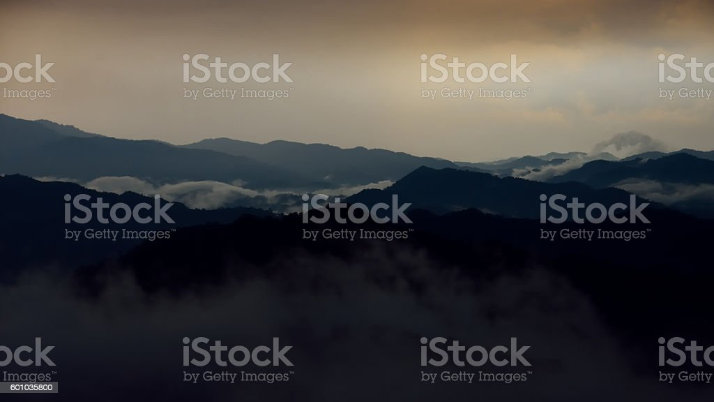 temperate clouds forest landscape stock photo