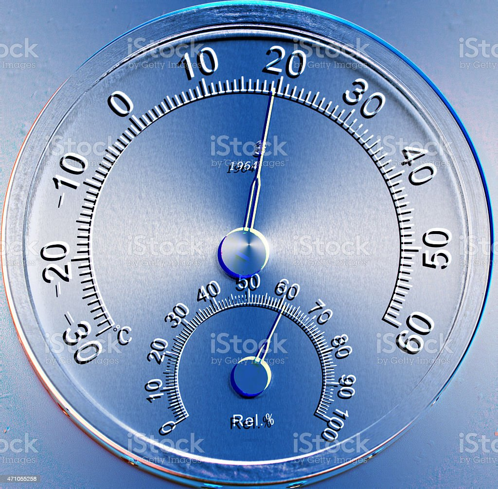 Temperature and humidity meter stock photo