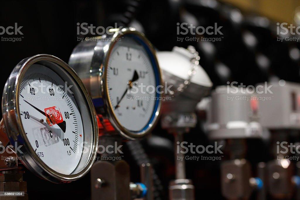 temperature and pressure gauges stock photo