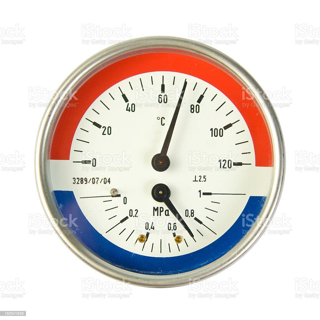 Temperature and pressure meter stock photo