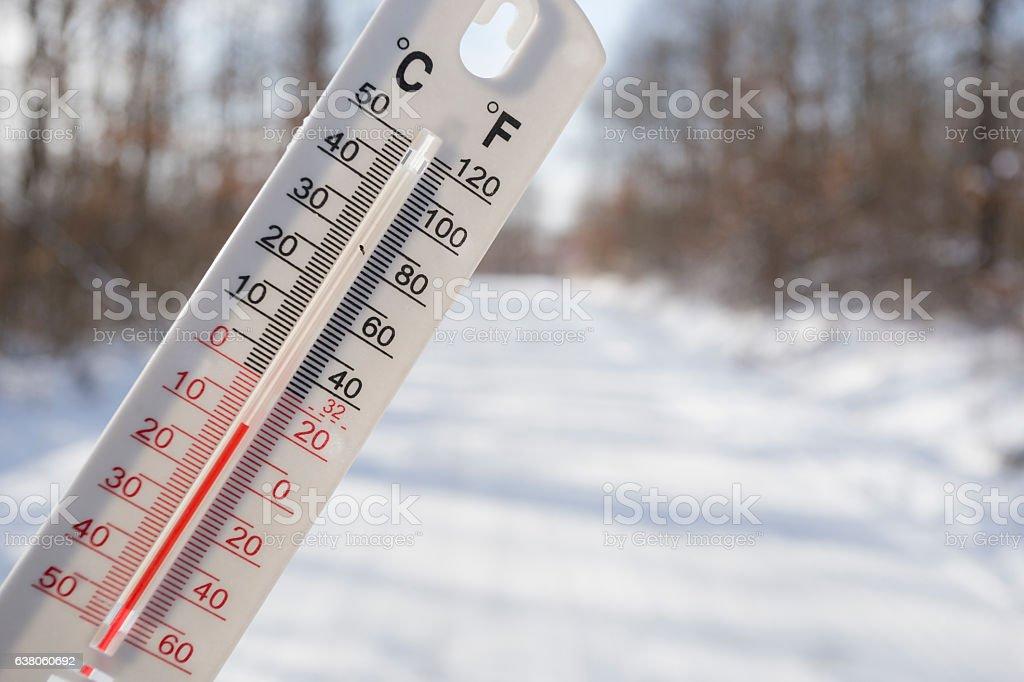 Temperature below Zero degree Celsius outdoor in nature stock photo
