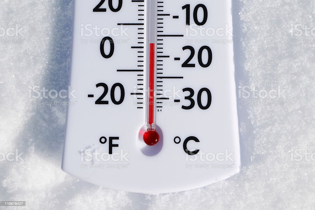 Temperature Gauge in the Snow royalty-free stock photo
