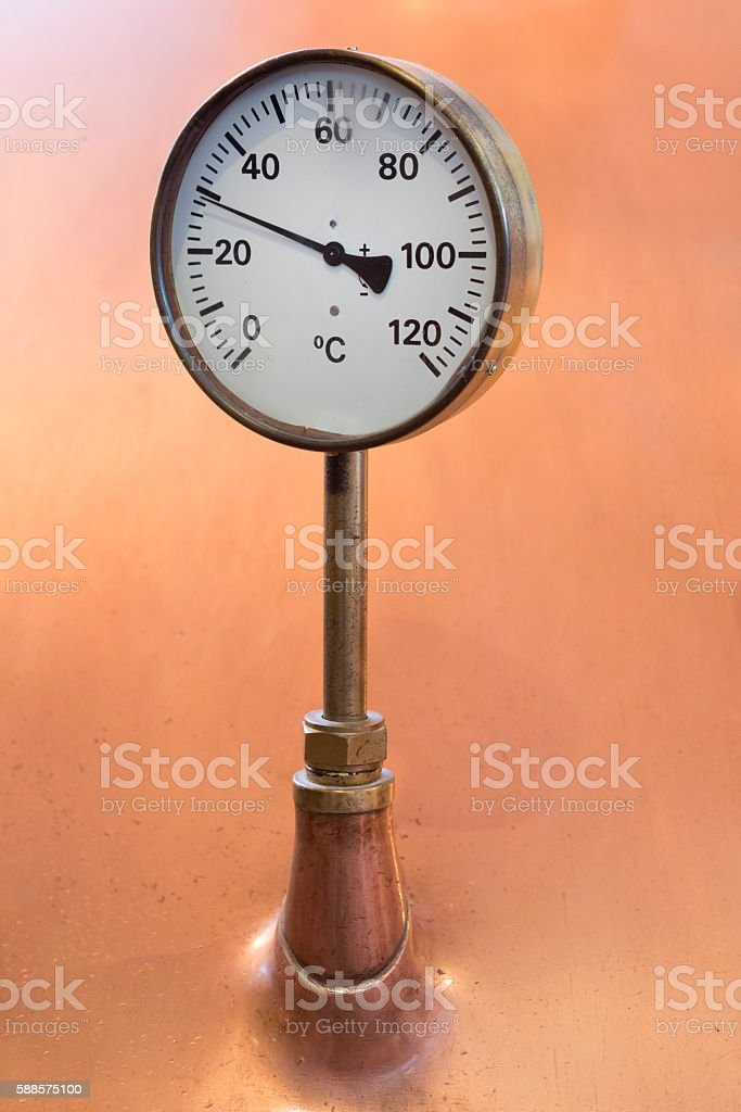 Temperature Gauge on a Copper Vat in a Brewery stock photo
