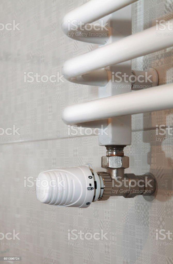temperature regulator for towel rail stock photo
