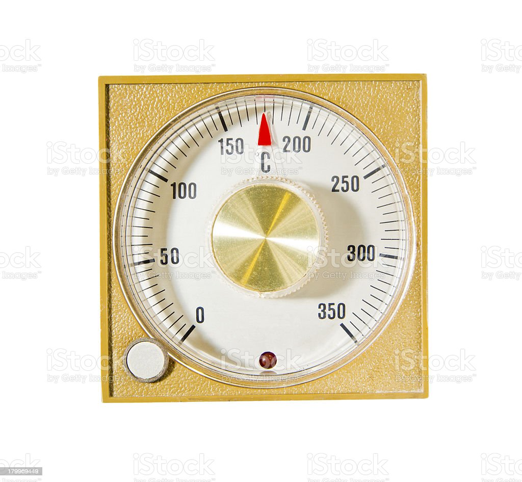 temperature setting with red indicator in vintage style royalty-free stock photo