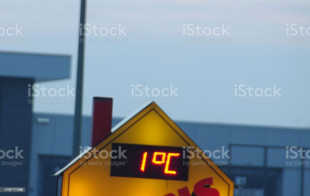 Temperature sign in the morning stock photo