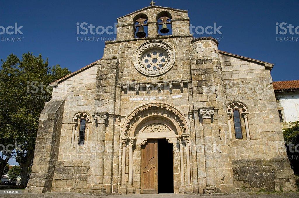 Templar church in Cambre, Galicia stock photo