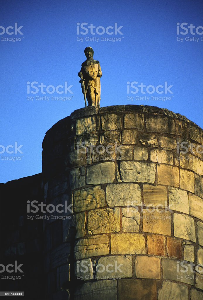 templar knight in the york castle stock photo