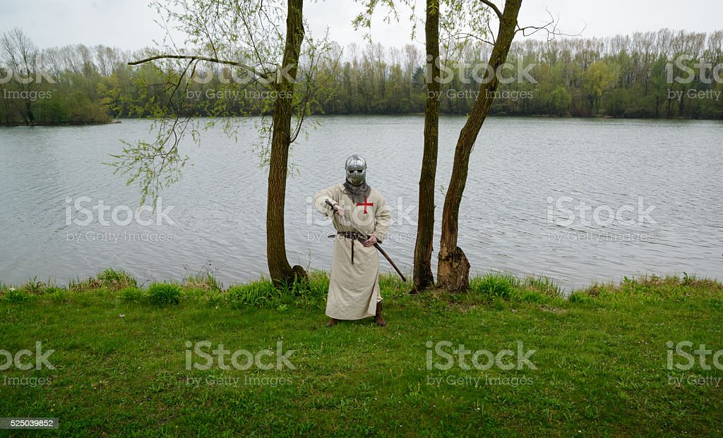 Templar on the lake stock photo