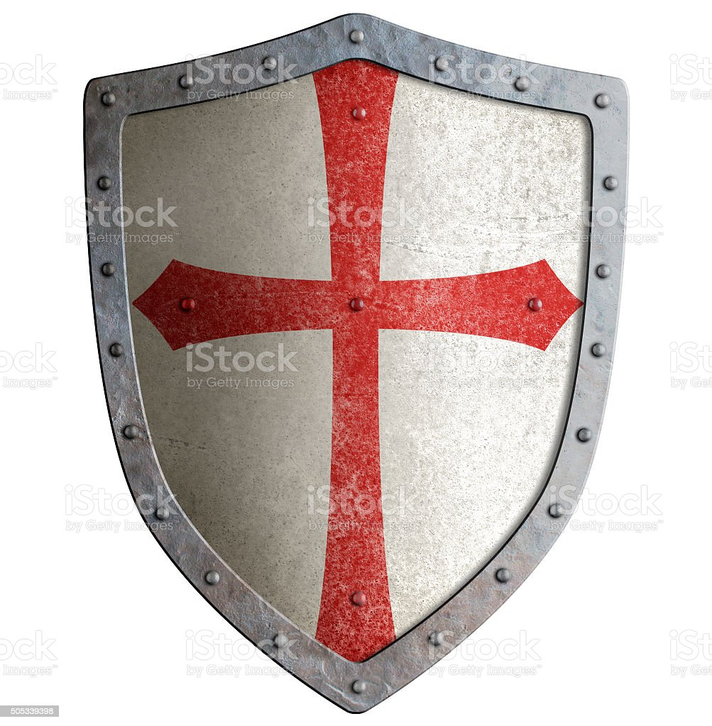 templar or crusader knight's metal shield isolated stock photo
