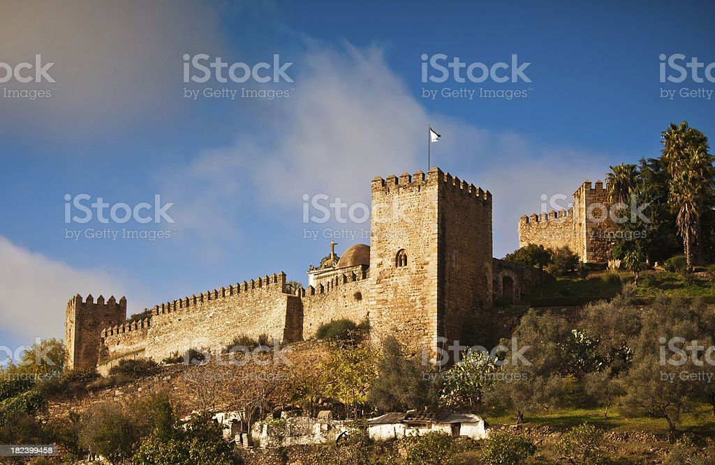 Templars castle in Jerez de los Caballeros stock photo