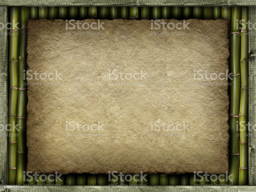 Template background - canvas sheet and bamboo royalty-free stock photo