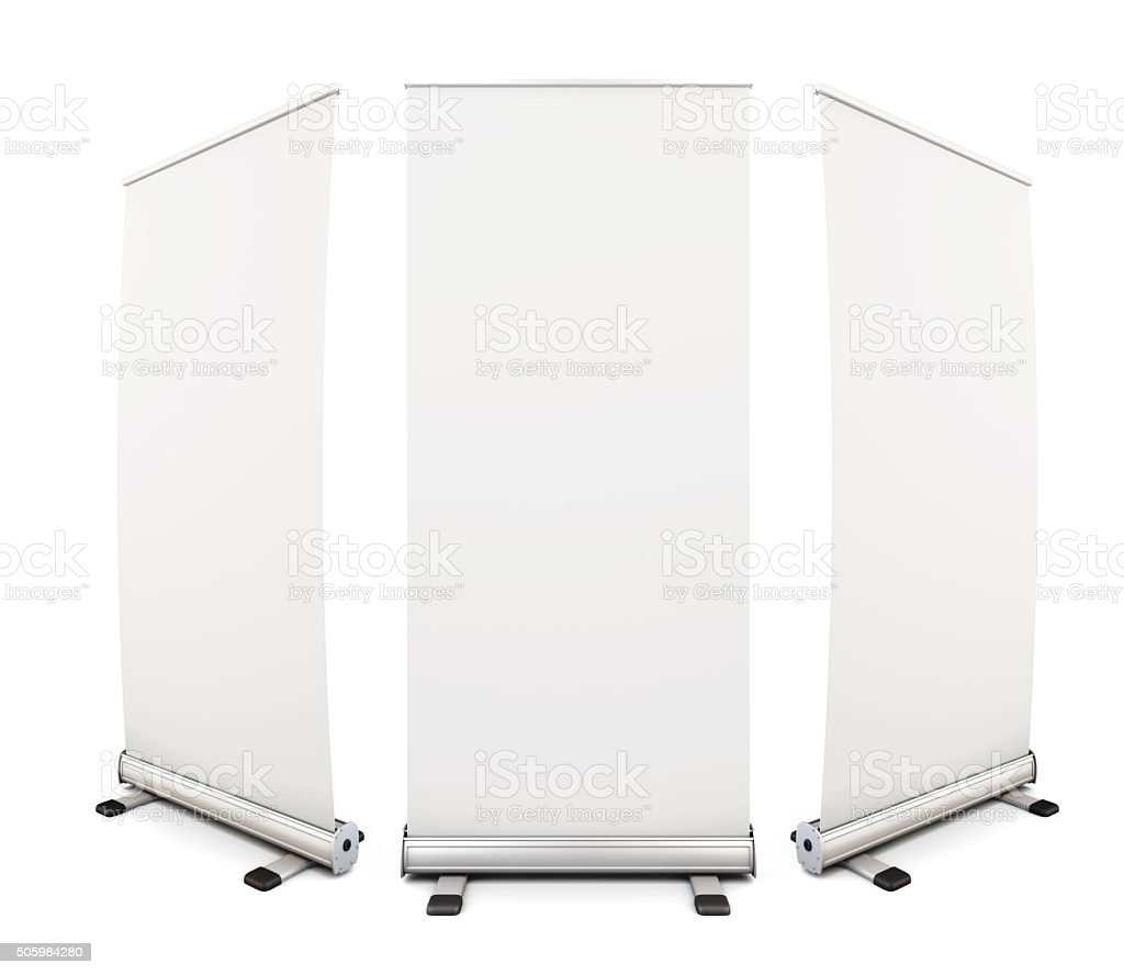 Template blank roll up banner display on white background. 3d. stock photo