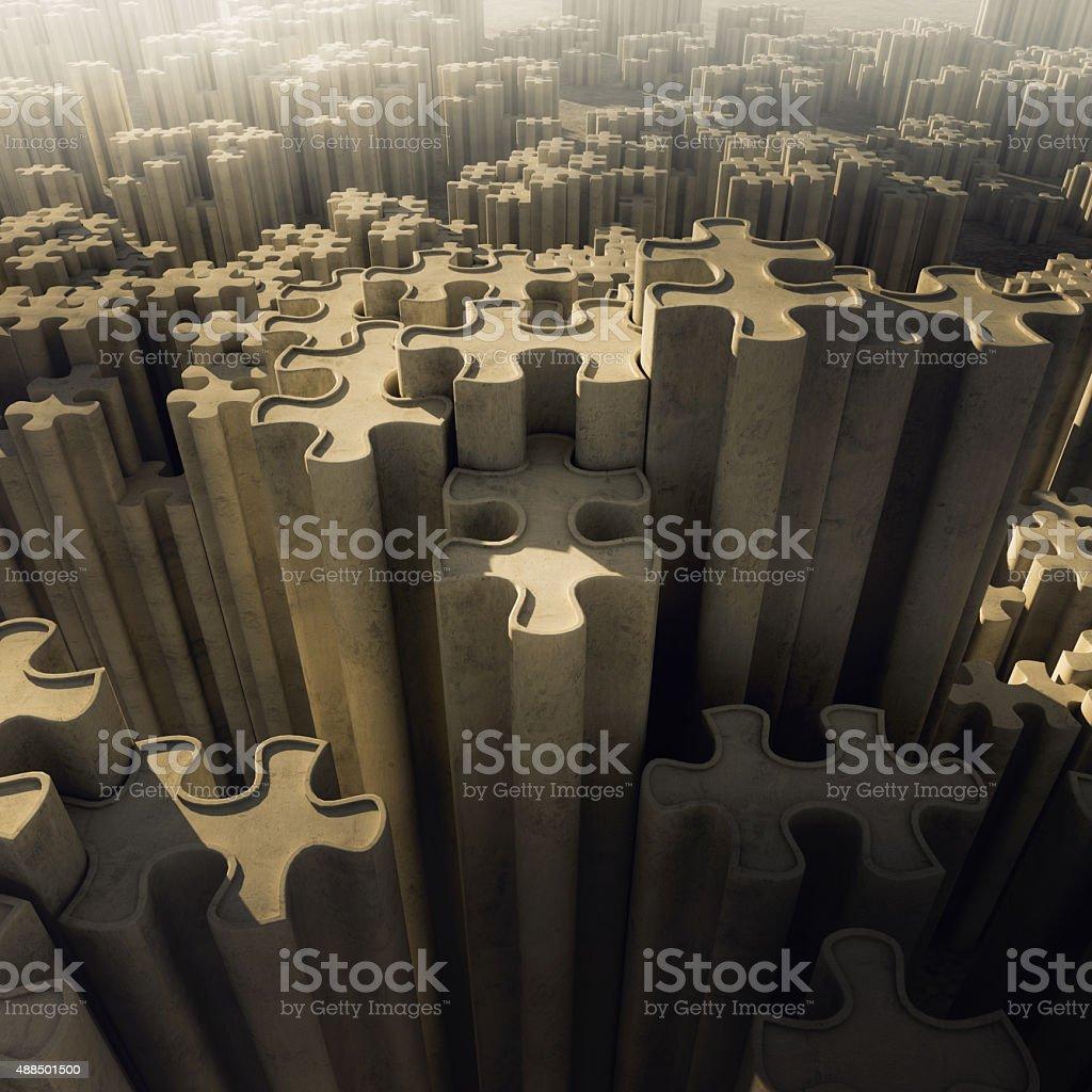 Template city tower jigsaw banner stock photo