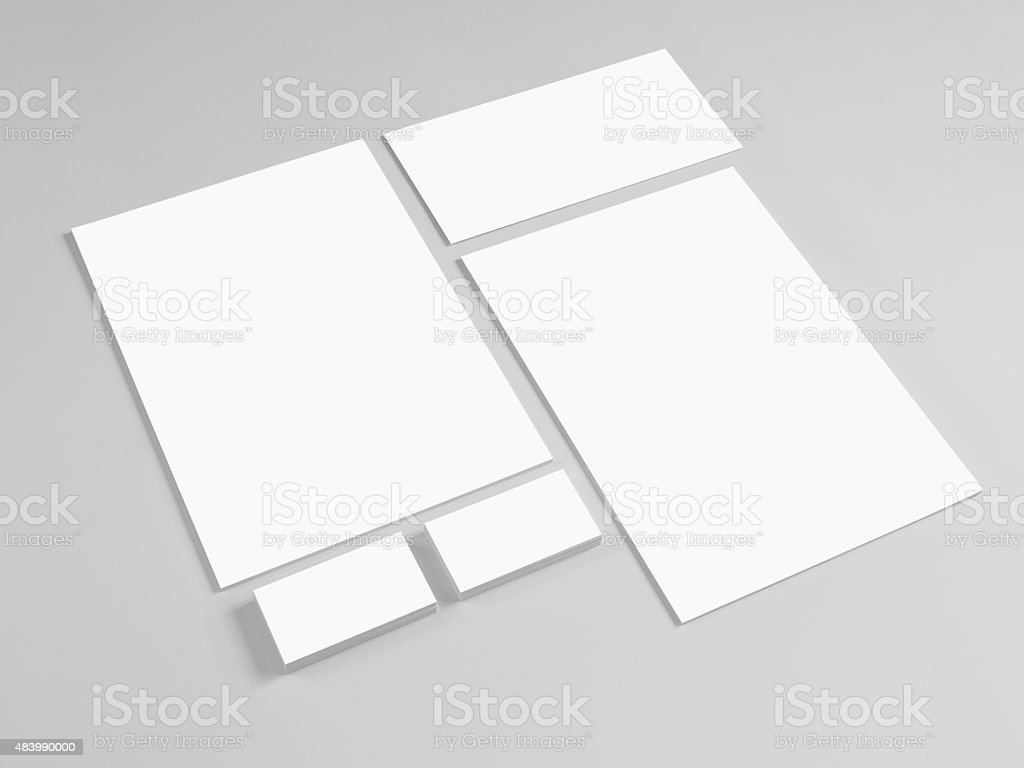 Template for branding identity on gray stock photo