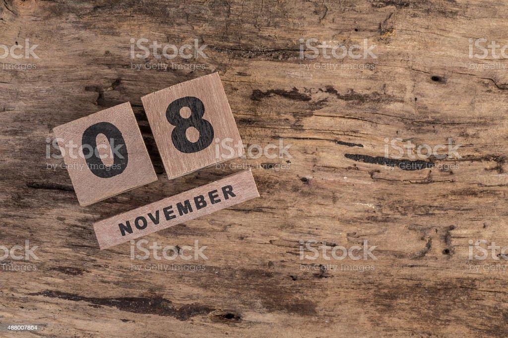 wooden calendar for november