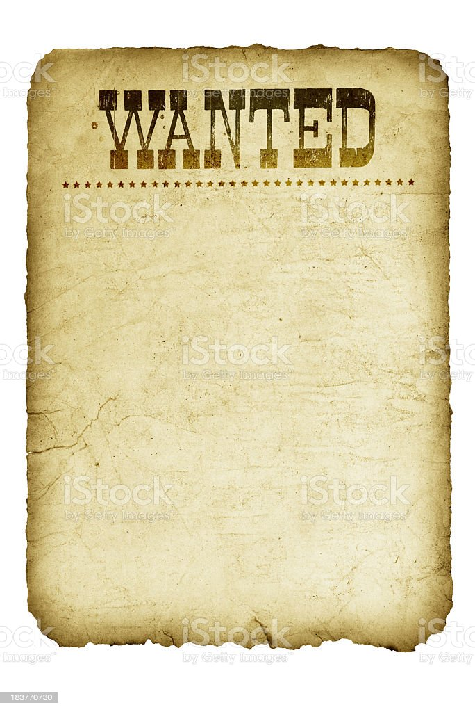 Template graphic of a vintage wanted poster from Wild West stock photo