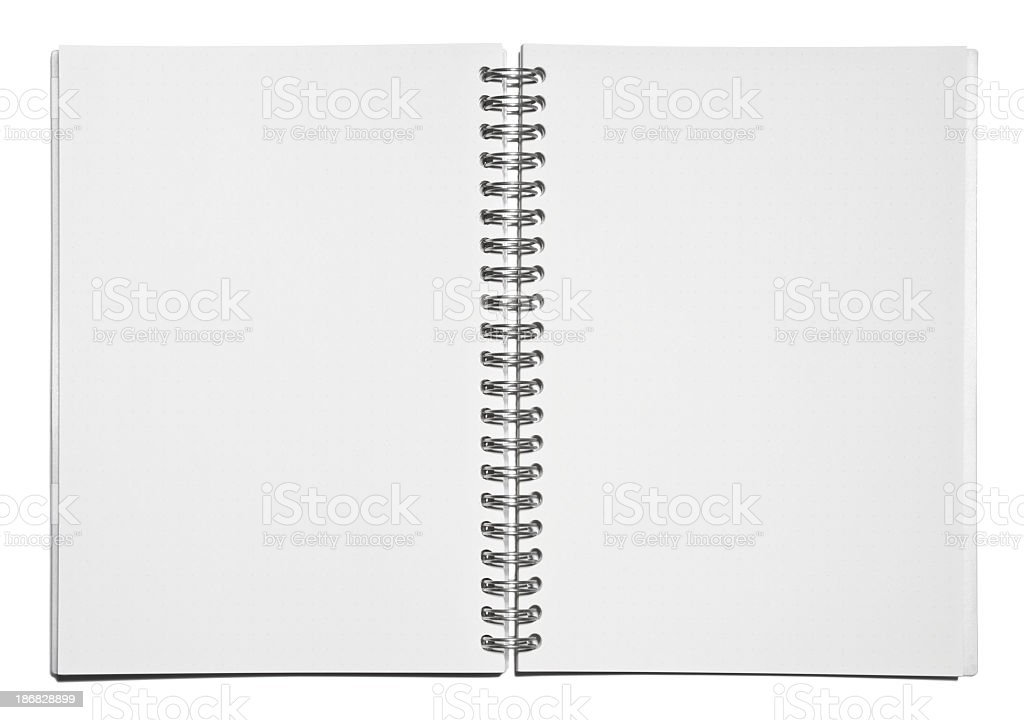Template of blank spiral notebook pages stock photo