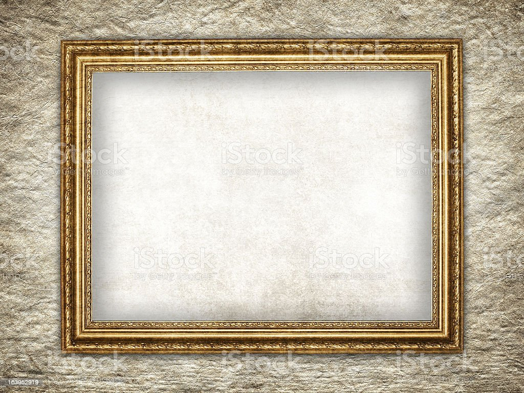 Template - Picture frame on rough wall background royalty-free stock photo