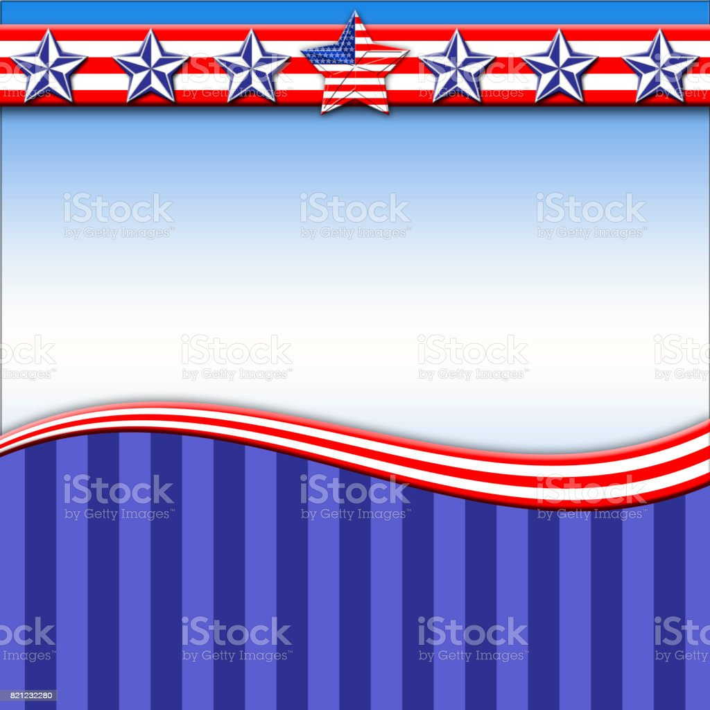 Template, usable for Labor Day and 4th of July, beautiful background Blue, white and red colors, stars designed with american flag on surface. Blank space, copy space. stock photo