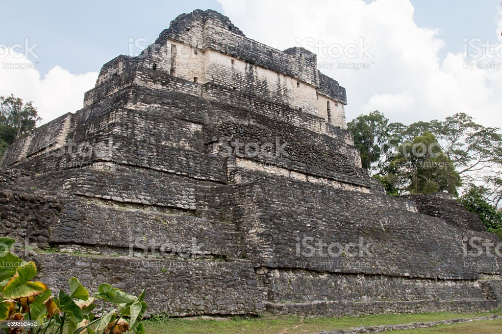 Temple A6 at Caracol in Belize stock photo