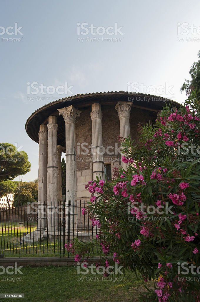 Temple and oleanders stock photo