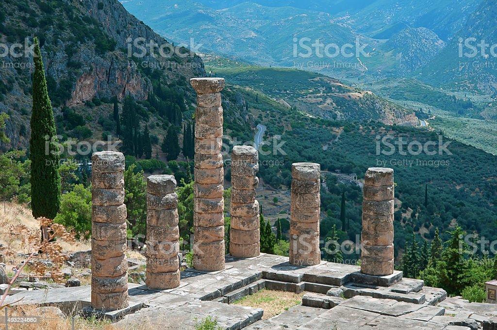 Temple Apollo columns in Delphi, Greece stock photo