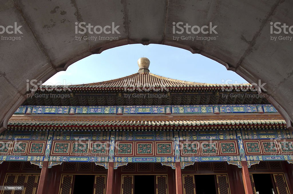 Temple architecture in Beihai Park, Beijing, China stock photo