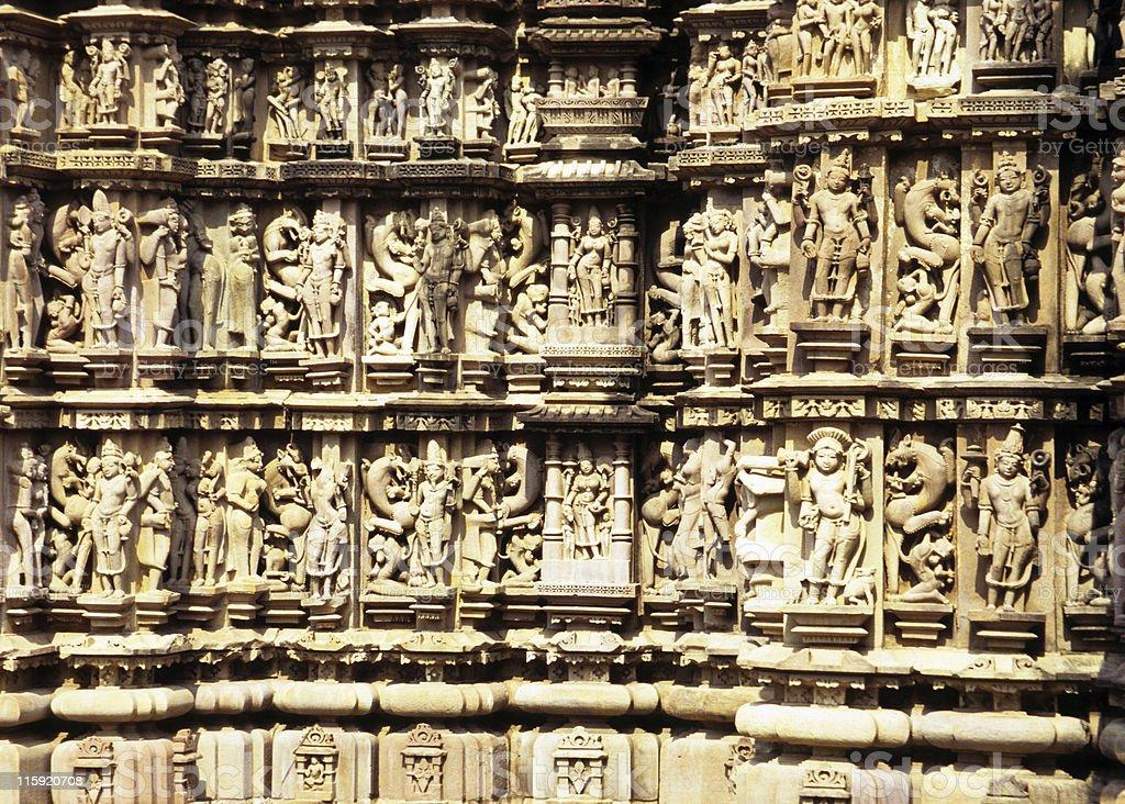 Temple Artwork, Khajuraho, India stock photo
