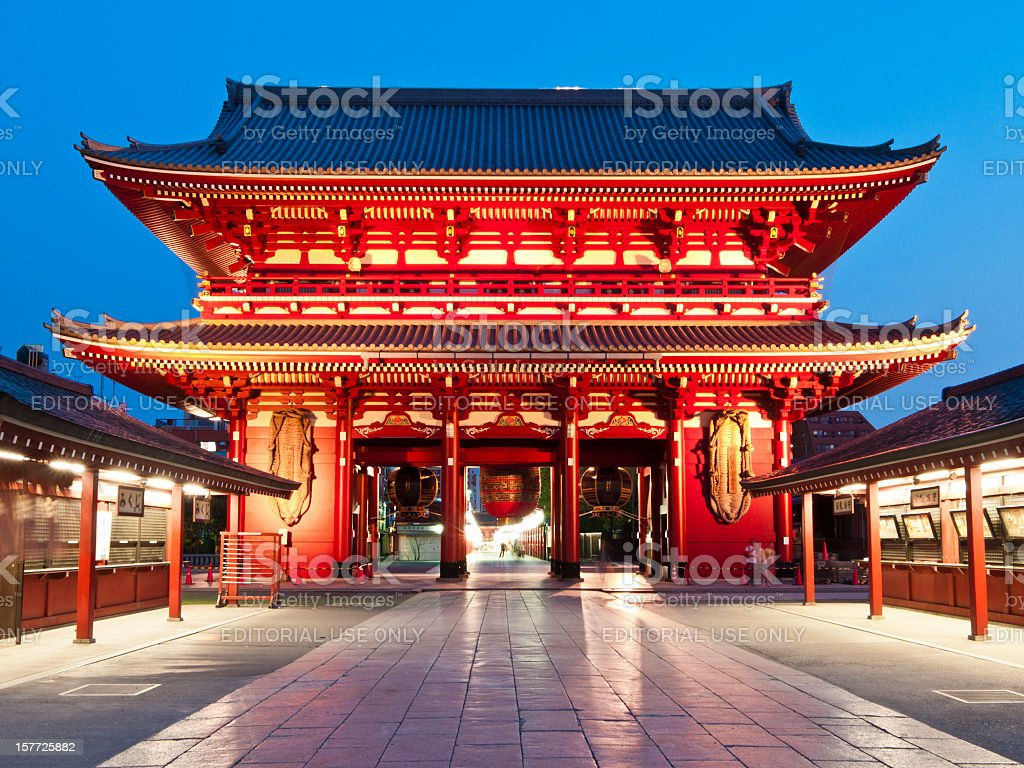 Temple at Asakusa, Tokyo stock photo