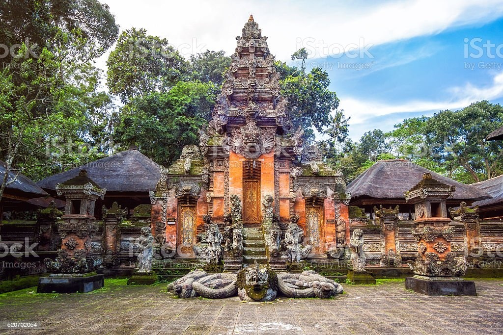 Temple at Monkey Forest Sanctuary in Ubud, Bali, Indonesia. stock photo