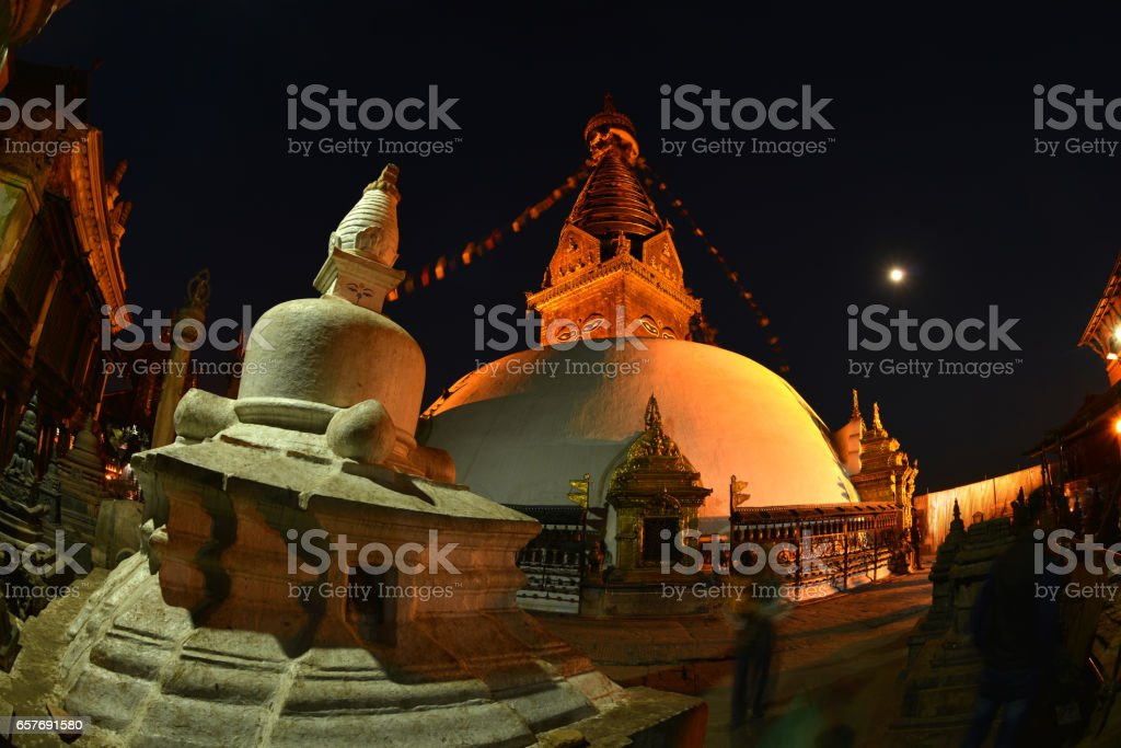 Temple at night, Kathmandu, Nepal stock photo