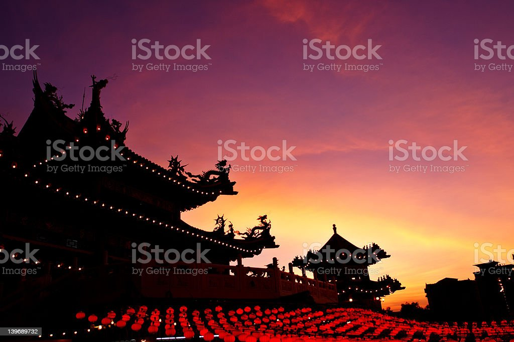 Temple at sunset stock photo