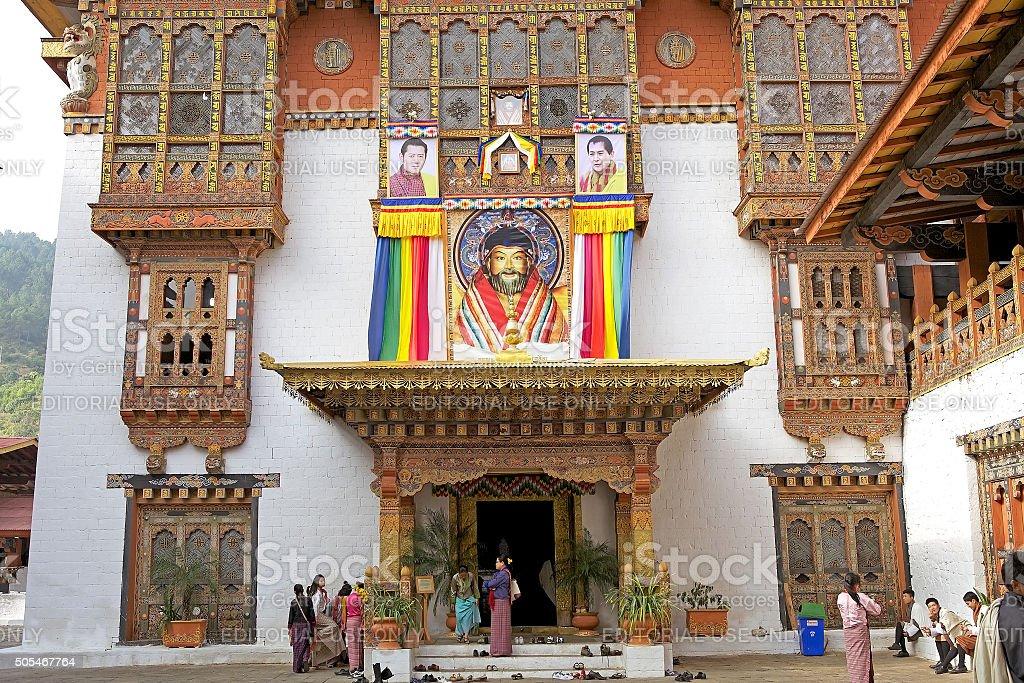 Temple at the Punakha Dzong, Punakha, Bhutan stock photo