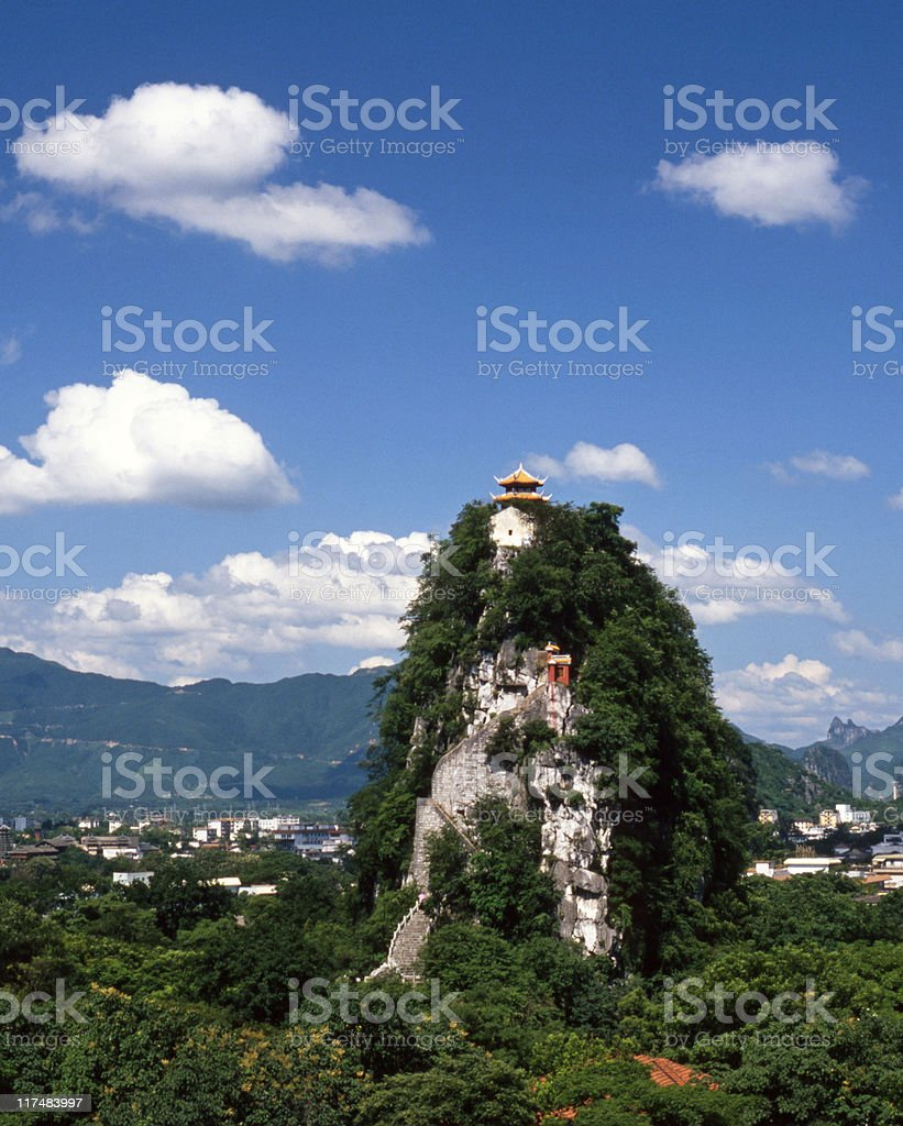Temple at the top stock photo
