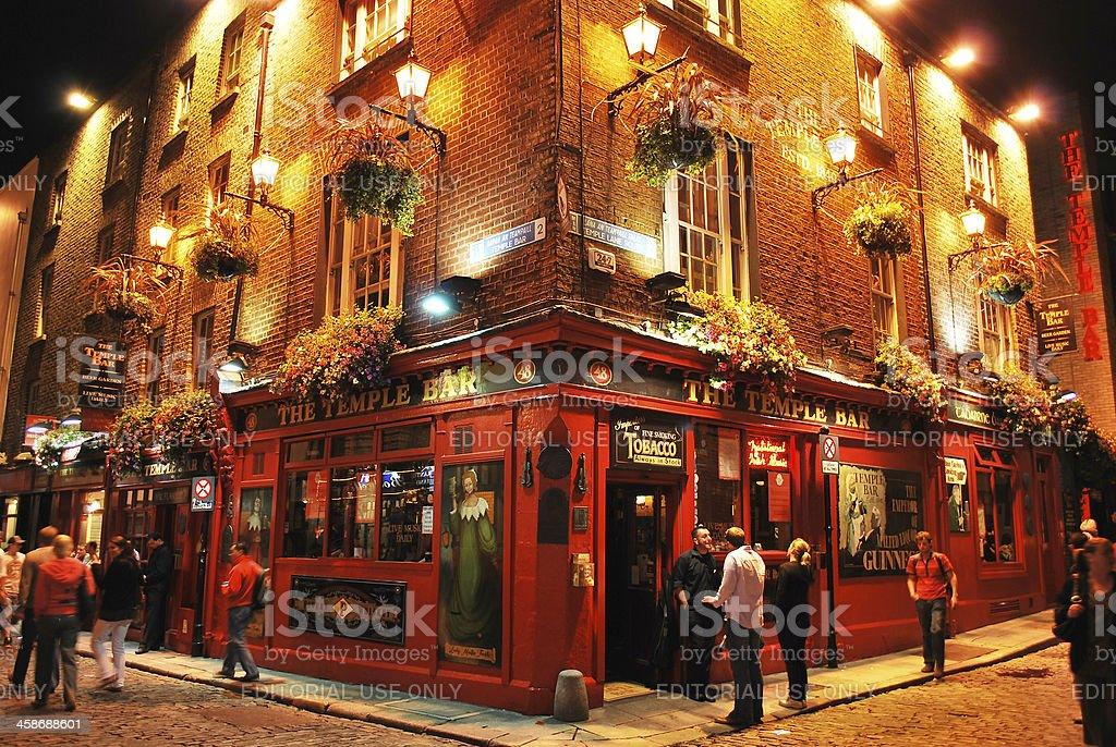 Temple bar by night, Dublin, Ireland stock photo