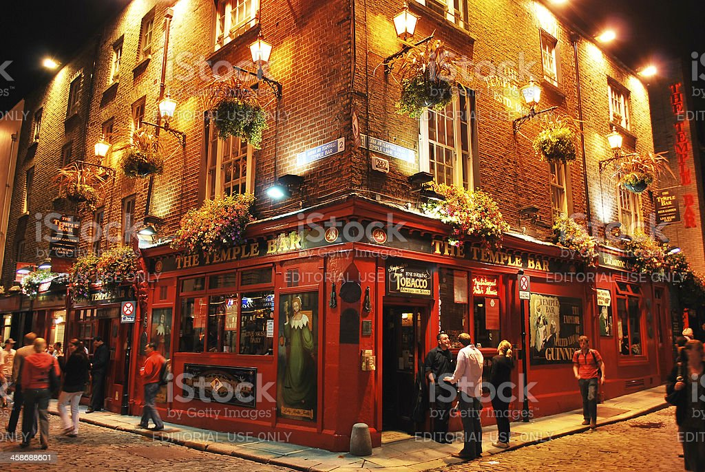 Temple bar by night, Dublin, Ireland stock photo