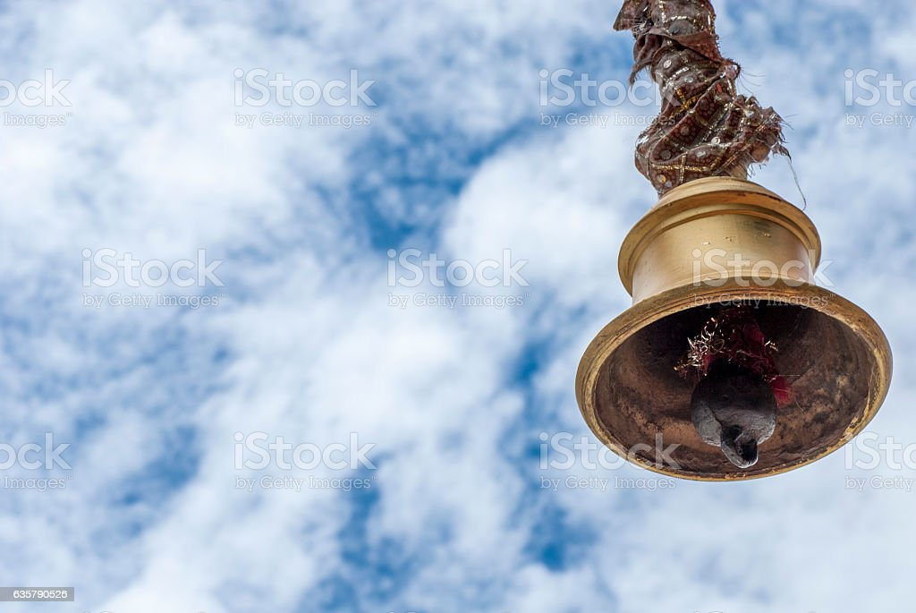 Temple bell in a Hindu Temple. stock photo