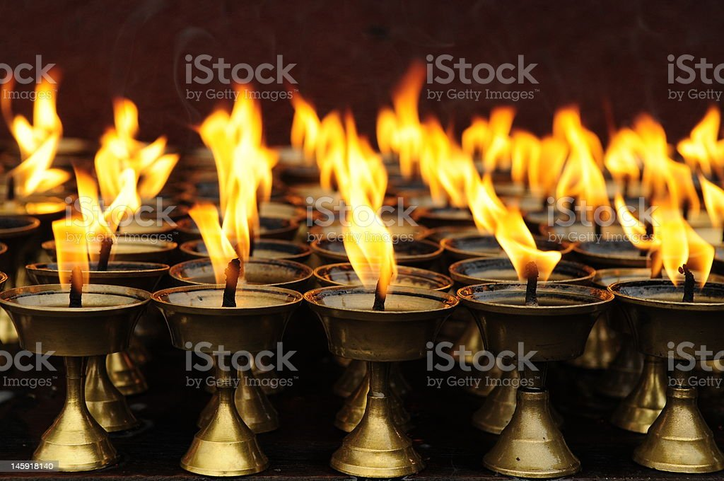 Temple candleholders stock photo