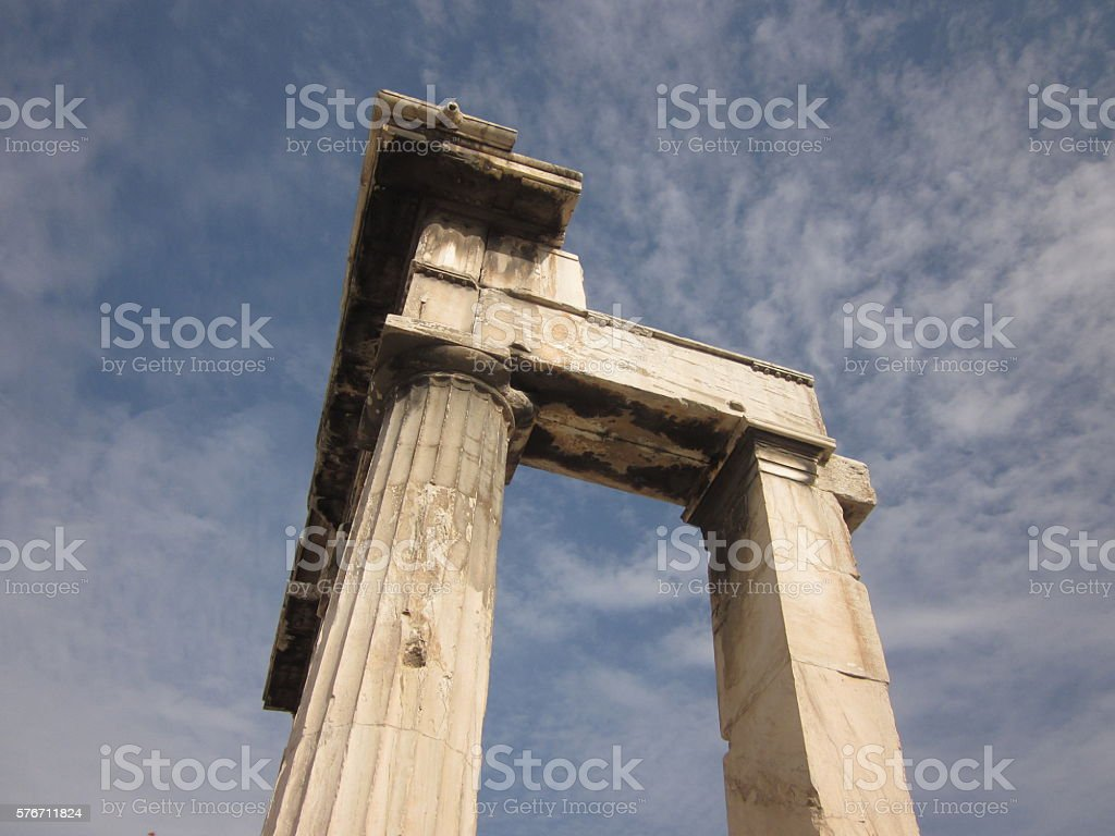 Temple Column in Athens, Greece stock photo
