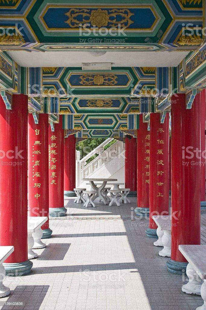 Temple corridor royalty-free stock photo