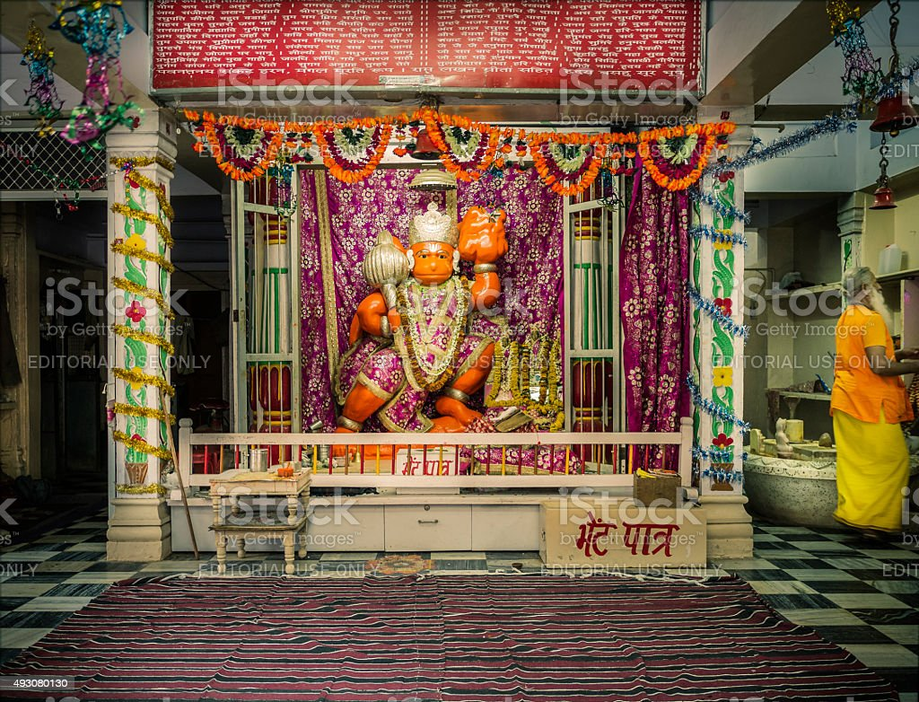 Temple dedicated to hindu God Hanuman stock photo