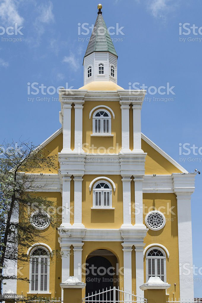 Temple Emanuel, Willemstad, Curacao stock photo