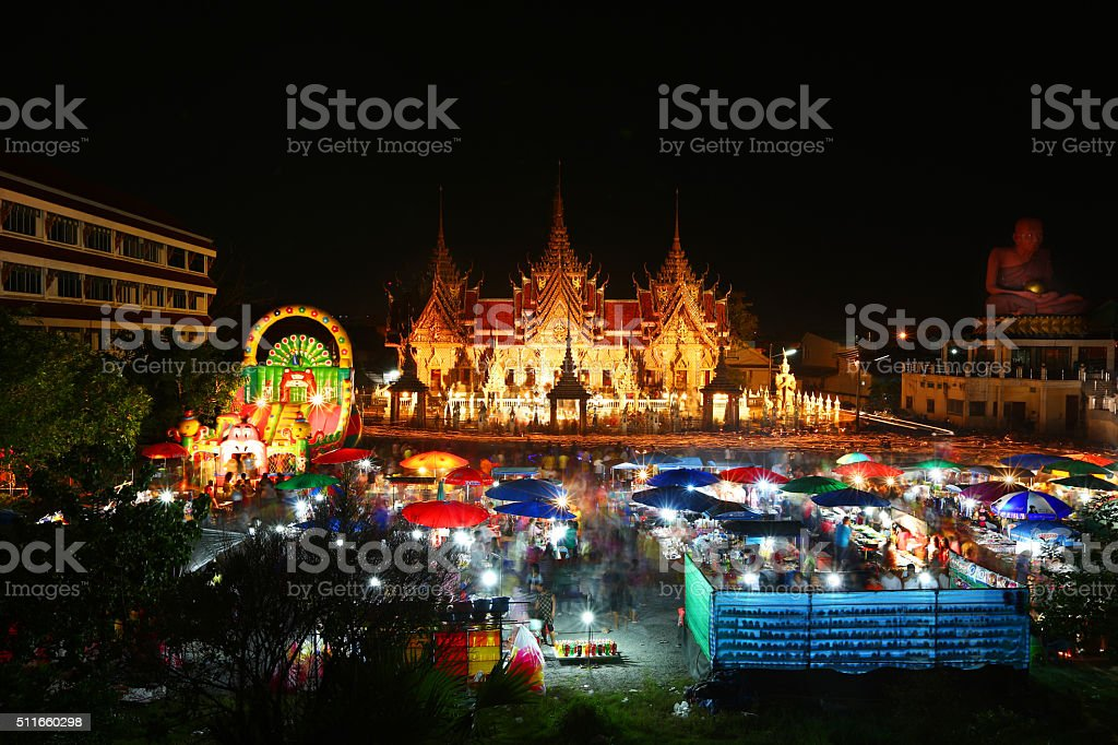 Temple Fair held in the days of Buddhism big day. stock photo