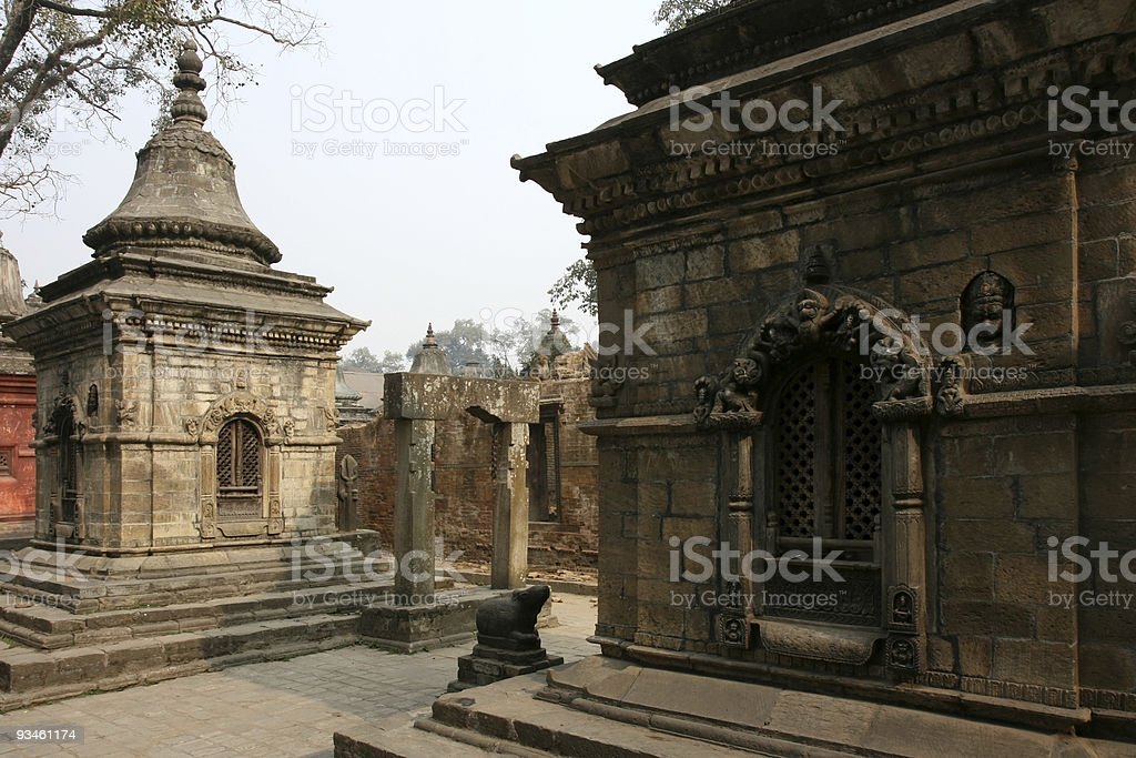 temple gates and shrines in Pashupatinath stock photo