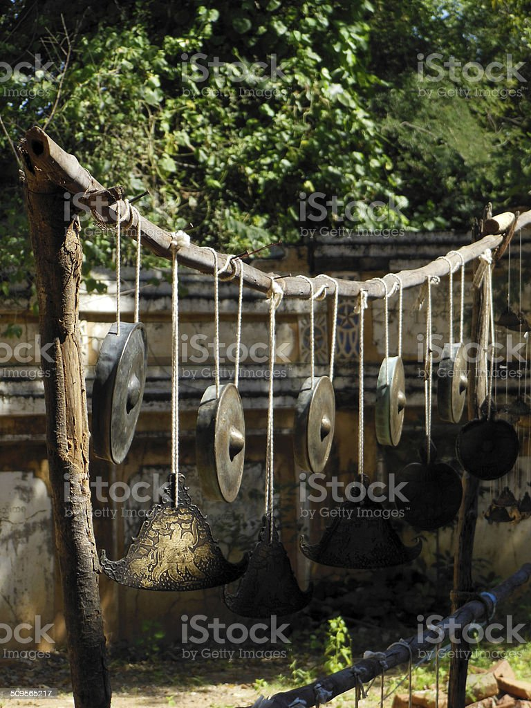Temple Gongs and Chimes stock photo